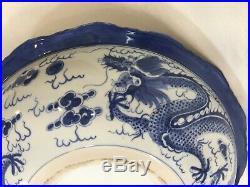 Chinese Large Porcelain Blue & White Dragon Bowl Plate, 16 3/8 Dia x 3 1/2 H