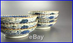 Chinese Old 5 Plates Dish / White and Blue DRAGON / W13.5× H 3.4cm