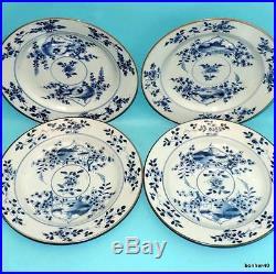 Chinese Porcelain 4 Antique 18thc Blue White Under Glaze Plates Kangxi Qianlong