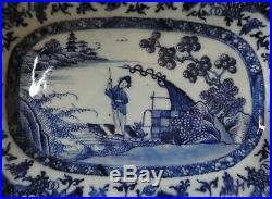 Chinese Porcelain Blue & White Dish With Figure Qianlong 18th Century