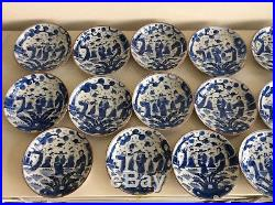 Chinese Qing Dynasty 20 Plates Dish / Blue and White / W16× H 2.4 cm