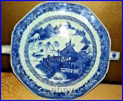 Chinese Warming Plate Blue White Export Canton Nanking Vintage Porcelain Rare