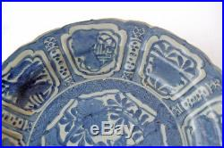 Chinese blue white kraak porcelain plate with cricket, butterfly Wan-Li China