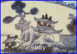 Chinese export blue & white vintage pre Victorian oriental antique oval dish