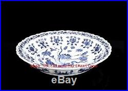 Chinese old Blue and white porcelain sculpture flower plate/ xuande mark