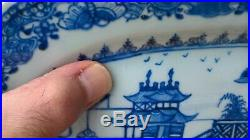 Circa 1750 Superb Qianlong Chinese Hand Painted Blue & White Porcelain Platter