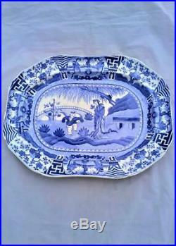 Copeland Lange Lijsen Long Eliza Meat Plate Platter Blue & White Antique c 1850