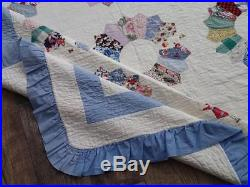 Cottage Home Perfect! Densely Quilted Vintage Blue & White Dresden Plate QUILT