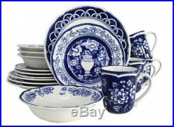 Dinnerware Set Blue White Circle Plate Dishes Kitchen Service Dining Ware 16Pc