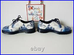 Dr Doc Martens 1461 Willow China Plate Pascal shoes blue white UK 7 EU 41 US 9