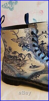 Dr Martens 1460 PASCAL WILLOW Blue White China Ankle Boots UK6 EU39 Excellent