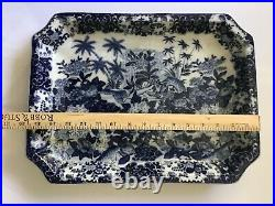 EARLY CHINESE EXPORT PORCELAIN TRAY PLATTER BLUE AND WHITE CRACKLEWARE 16 x 12