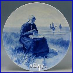@ EXCELLENT @ Porceleyne Fles handpainted blue & white Delft charger Artz 1905