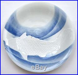 Early 20C Japanese Blue & White Hirado Porcelain Relief Moriage Koi Fish Plate