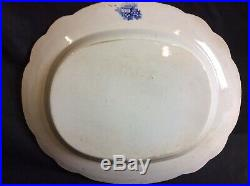 Early Victorian Staffordshire Blue & White Meat Platter Plate Ruins Design