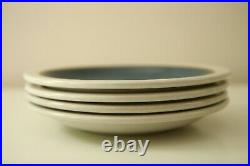 Edith Heath Ceramics French Blue Plate Set 4 White Rim Dessert Salad