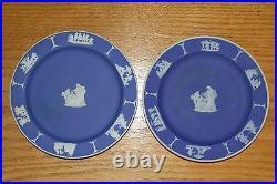 Eight Antique Wedgwood Cobalt Blue Jasper Ware 6 Dessert Plates (c. 1920)