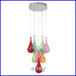 Endon Niro 10 Light Pendant Multi Coloured Glass & Chrome Plate Niro-10multi