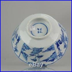 Enormous 19C Blue White Chinese Porcelain Bowl China Marked Kangxi Base