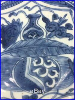 Estate Antique Kraak Chinese Blue White Porcelain Dish Charger Plate