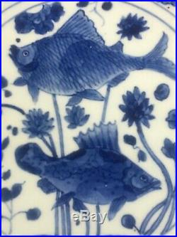 Estate Antique Vintage Chinese Blue White Porcelain Twin Fish Dish Charger Plate