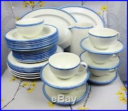 Everyday HABITAT Dinner Service/Set for 6. White, blue edge. Plates bowls cups