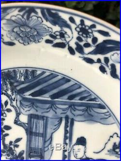 Excellent Antique Chinese Kangxi Period Blue & White Figural Pattern Plate 2