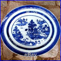 Exceptional Antique 1810 Chinese NANKING CANTON Blue White Export 18 Platter