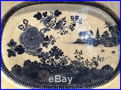 Exceptional C. 1790, Chinese Export Blue & White Weaved Border Platter