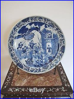 Exquisite Large Chinese Blue & White Porcelain Plate Late Qing Republic 17