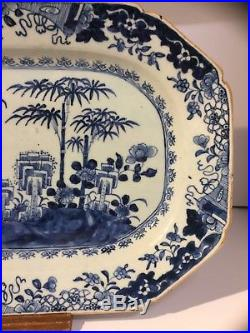 FINE CHINESE 18th C QIANLONG BLUE WHITE PLATTER PLATE OVAL DISH 13 BROWN BORDER