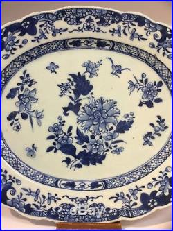FINE CHINESE 18th C QIANLONG BLUE WHITE PLATTER PLATE OVAL DISH 13 FLORAL VGC