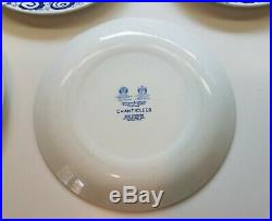 FIVE Johnson Brothers Blue & White Chanticleer Rooster Dinner Plates 10