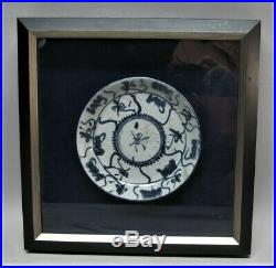 Fine ANCIENT CHINESE Blue & White Porcelain Plate in Velvet Shadowbox antique