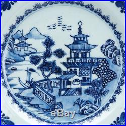 Fine Antique Chinese Blue & White Landscape Plate 18th C
