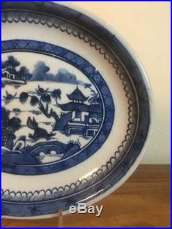 Fine Canton Export Blue & White Oval Plate Willow 1800's