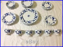 Fine China Japan Royal Meissen Service 40 Pc Set Plates Bowls Floral Blue White