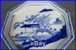 Fine Chinese Antique Kangxi Qing Blue & White Porcelain Octagon Plate