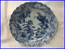 Fine Large Blue & White Porcelain Charger Japanese Arita Edo 40.6cm