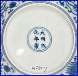 Fine Superb Chinese Blue and White Phoenix Porcelain Plate