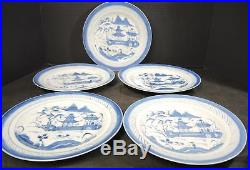 Five Antique Chinese Canton Export Blue & White 8 1/2 Luncheon Plates