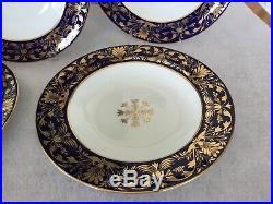 Five Royal Crown Derby, England 10 Plates (COBALT BLUE/WHITE/GOLD) RARE
