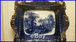 Flow Blue Pearlware Dispay plate Blue & White mid 19thc