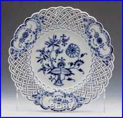 Four Antique Meissen Blue & White Onion Pattern Pierced Plates 19th C