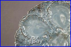French Blue & White Marbleized Agateware / Aptware & Gold Oyster Plate C. 1890s