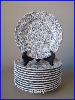 Gien France Blue & White Floral Salad Plates 8, Set of (12), Vintage 1960-1971