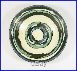 Gorka Livia, Blue, White & Teal Retro Wall Plate 8.2, 1950's Art Pottery