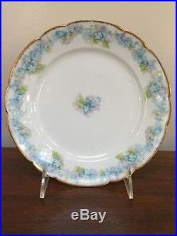 HAVILAND Limoges Schleiger 189 Blue & White Flowers Salad Plate Set of 12