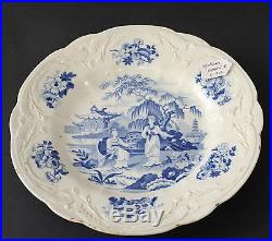 HEATHCOTE CHINA BLUE & WHITE PATTERN SOUP PLATE Mark Impressed ca. 1820 museum