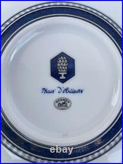 HERMES BLEUS D'AILLEURS 1 Rim Soup Plate Bowl in Blue Printed Porcelain